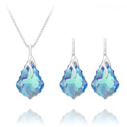 Parure Éclair Baroque en Argent et Cristal Bleu Aurore Boréale