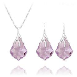 Parure Éclair Baroque en Argent et Cristal Violet