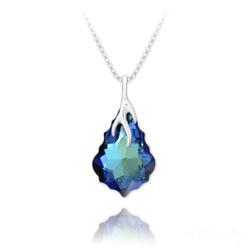 Collier Éclair Baroque en Argent et Cristal Bleu Bermude