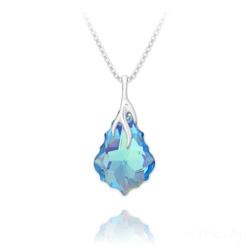 Collier Éclair Baroque en Argent et Cristal Bleu Aurore Boréale