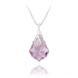 Collier Éclair Baroque en Argent et Cristal Violet