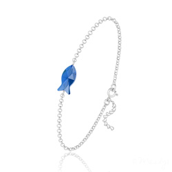 Bracelet Poisson en Argent et Cristal Capri Blue