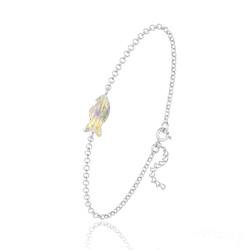 Bracelet Poisson en Argent et Cristal Aurore Boréale