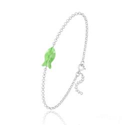 Bracelet Poisson en Argent et Cristal Vert Peridot