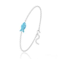 Bracelet Poisson en Argent et Cristal Bleu