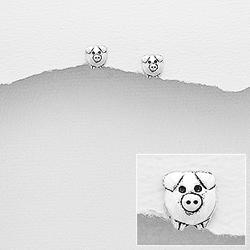 Clous d'Oreilles Cochon en Argent