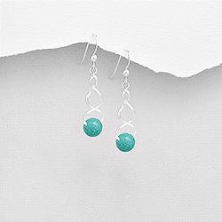 Boucles d'Oreilles Torsadées en Argent et Perle d'Eau Douce Turquoise