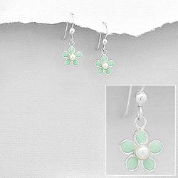 Boucles d'Oreilles Fleur Verte en Argent