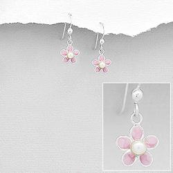 Boucles d'Oreilles Fleur Rose en Argent