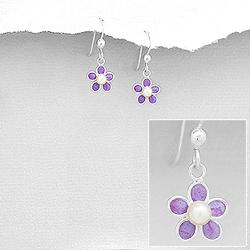 Boucles d'Oreilles Fleur Violette en Argent
