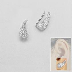 Broches d'Oreilles Aile d'Ange en Argent et Diamant CZ
