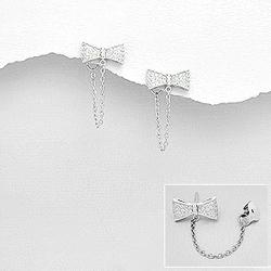 Clous et Manchettes d'Oreilles Noeud Papillon en Argent et Diamant CZ
