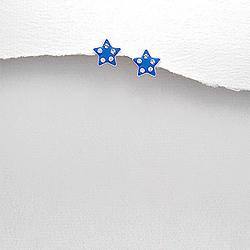 Boucles d'Oreilles en Argent Étoile Émail Bleu foncé