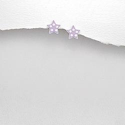 Boucles d'Oreilles en Argent Étoile Émail Violet