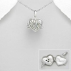 Pendentif Coeur Porte Photo en Argent et Cristal Blanc
