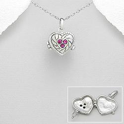 Pendentif Coeur Porte Photo en Argent et Cristal Rose