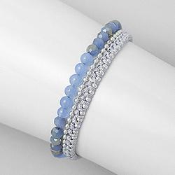 Bracelet en Cristal et Jade Teinté Bleu