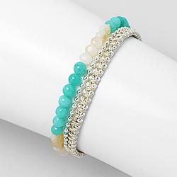 Bracelet en Cristal et Jade Teinté Turquoise