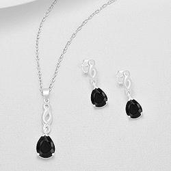 Parure en Argent et Diamant CZ Noir