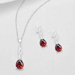 Parure en Argent et Diamant CZ Rouge