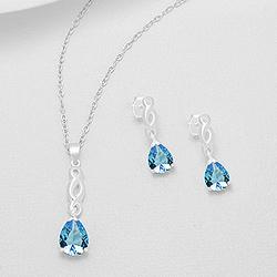 Parure en Argent et Diamant CZ Bleu