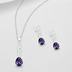 Parure en Argent et Diamant CZ Violet
