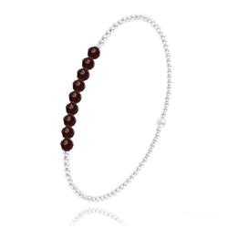 [Rouge Siam] Bracelet en Perle d'Argent et Cristal 4mm