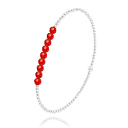 [Rouge Light Siam] Bracelet en Perle d'Argent et Cristal 4mm