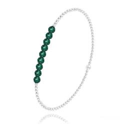 [Vert Émeraude] Bracelet en Perle d'Argent et Cristal 4mm