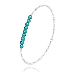 [Blue Zircon] Bracelet en Perle d'Argent et Cristal 4mm