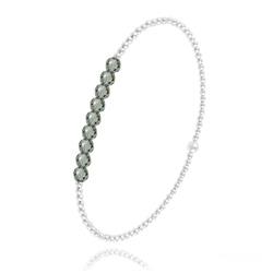 [Black Diamond] Bracelet en Perle d'Argent et Cristal 4mm