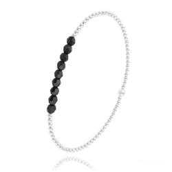 [Noir] Bracelet en Perle d'Argent et Cristal 4mm