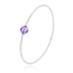 Bracelet Élastique en Argent et Perle de Cristal Violet Tanzanite