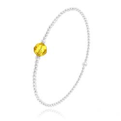 Bracelet Élastique en Argent et Perle de Cristal Jaune Sun Flower