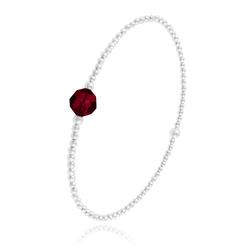 Bracelet Élastique en Argent et Perle de Cristal Rouge Siam