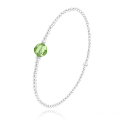 Bracelet Élastique en Argent et Perle de Cristal Vert Péridot