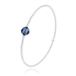 Bracelet Élastique en Argent et Perle de Cristal Bleu Montana