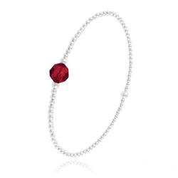 Bracelet Élastique en Argent et Perle de Cristal Rouge Light Siam