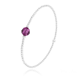 Bracelet Élastique en Argent et Perle de Cristal Fuchsia