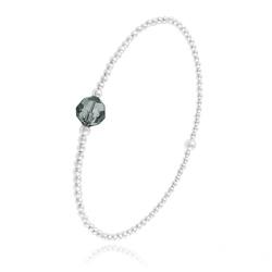 Bracelet Élastique en Argent et Perle de Cristal Black Diamond