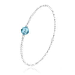 Bracelet Élastique en Argent et Perle de Cristal Bleu