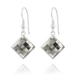 Boucles d'Oreilles en Cristal et Argent Boucles d'Oreilles Chessboard 10MM en Argent et Cristal Black Diamond