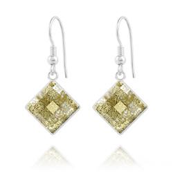 Boucles d'Oreilles en Cristal et Argent Boucles d'Oreilles Chessboard 10MM en Argent et Cristal Gold Patina