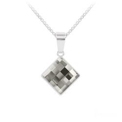 Collier en Cristal et Argent Collier Chessboard 10MM en Argent et Cristal Black Diamond