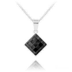 Collier Chessboard 10MM en Argent et Cristal Noir