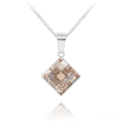 Collier Chessboard 10MM en Argent et Cristal Rose Patina