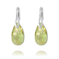 Boucles Goutte 22mm en Argent et Cristal Luminous Green