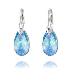 Boucles Goutte 22mm en Argent et Cristal Bleu Aurore Boréale