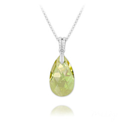Collier Goutte 22mm en Argent et Cristal Luminous Green