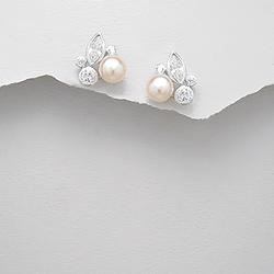 Boucles d'Oreilles Perle d'Eau Douce Pêche et Diamant CZ